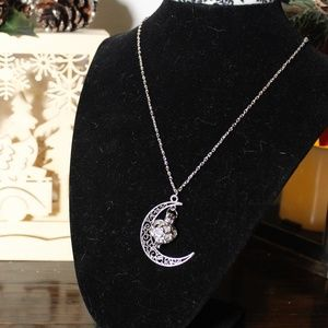 *New Listing* Moon Pendant Necklace w/Caged Heart